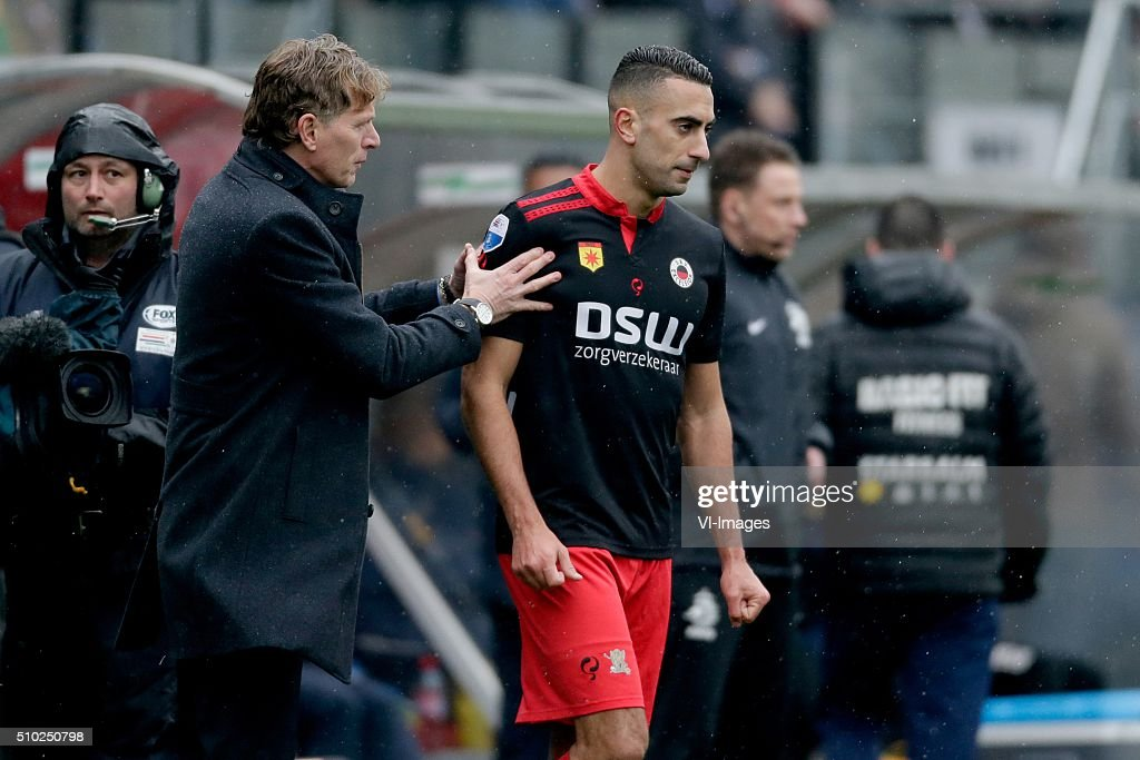 coach Alfons Groenendijk of Excelsior Rotterdam, Adil Auassar of Excelsior Rotterdam during the Dutch Eredivisie match between Excelsior Rotterdam and ADO Den Haag at Woudenstein stadium on February 14, 2016 in Rotterdam, The Netherlands