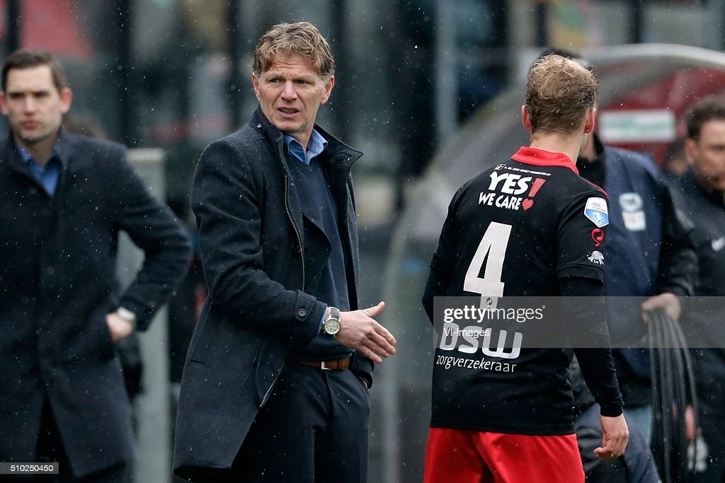 coach Alfons Groenendijk of Excelsior Rotterdam, Rick Kruys of Excelsior Rotterdam during the Dutch Eredivisie match between Excelsior Rotterdam and ADO Den Haag at Woudenstein stadium on February 14, 2016 in Rotterdam, The Netherlands