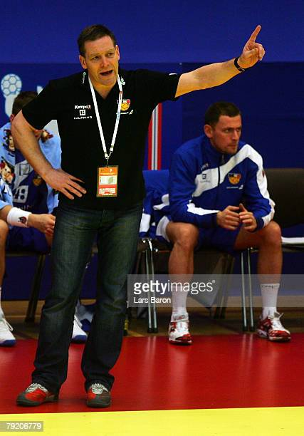 Coach Alfred Gislason of Iceland gestures during the Men's Handball European Championship main round Group II match between Spain and Iceland at...