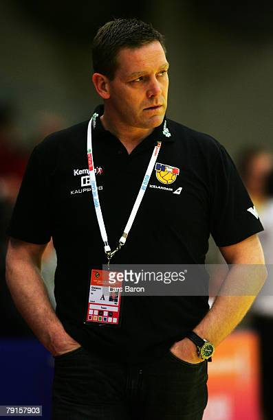 Coach Alfred Gislason of Iceland looks dejected during the Men's Handball European Championship main round Group II match between Germany and Iceland...