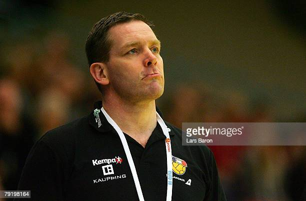 Coach Alfred Gislason of Iceland looks on during the Men's Handball European Championship main round Group II match between Spain and Iceland at...