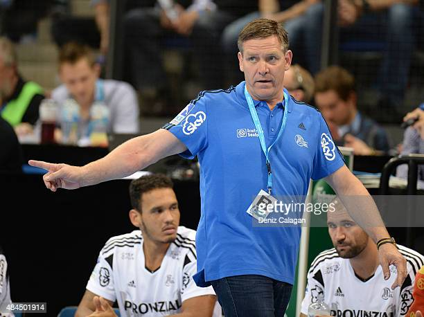 coach Alfred Gislason of Kiel reacts during the Pixum Super Cup between THW Kiel and SG Flensburg Handewitt at PorscheArena on August 19 2015 in...