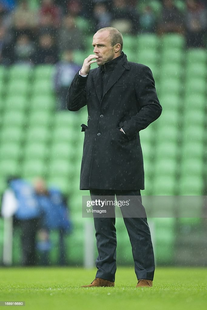 Coach Alfred Schreuder of FC Twente during the Eredivisie Europa League Playoff match between FC Groningen and FC Twente on May 16, 2013 at the Euroborg stadium at Groningen, The Netherlands.