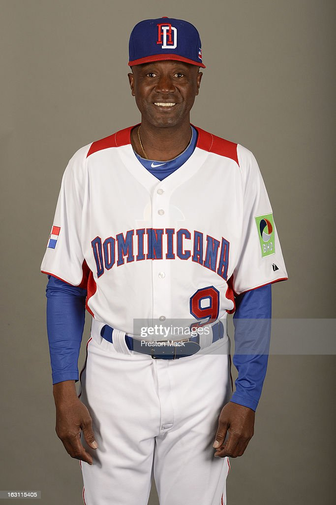 Coach <a gi-track='captionPersonalityLinkClicked' href=/galleries/search?phrase=Alfredo+Griffin&family=editorial&specificpeople=835953 ng-click='$event.stopPropagation()'>Alfredo Griffin</a> #9 of Team Dominican Republic poses for a headshot for the 2013 World Baseball Classic on March 4, 2013 at George M. Steinbrenner Field in Tampa, Florida.