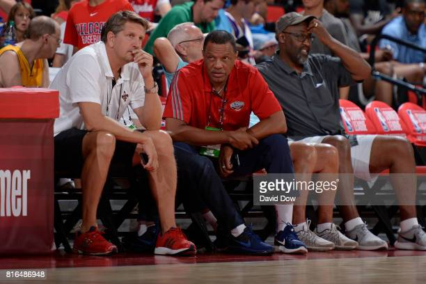 Coach Alvin Gentry of the New Orleans Pelicans watches from the sidelines against the Toronto Raptors during the 2017 Las Vegas Summer League on July...