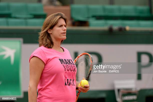 Coach Amelie Mauresmo during Andy Murray's practice on day eleven of the French Open at Roland Garros on June 3 2015 in Paris France