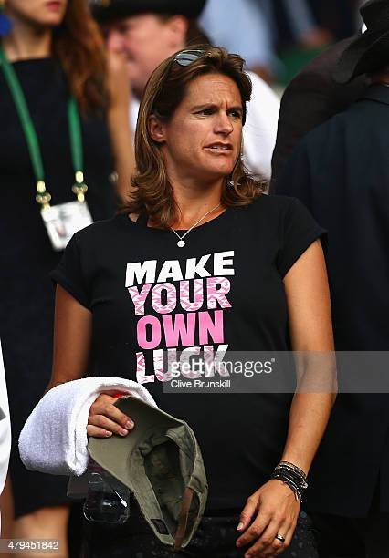 Coach Amelie Mauresmo takes a seat for the Gentlemen's Singles Third Round match between Andy Murray of Great Britain and Andreas Seppi of Italy...