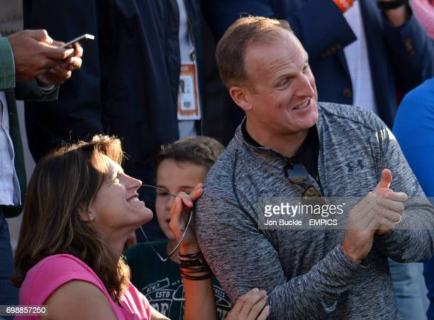 Coach Amelie Mauresmo watching Andy Murray against David Ferrer in the Men's Singles Quarterfinals on day eleven of the French Open at Roland Garros...
