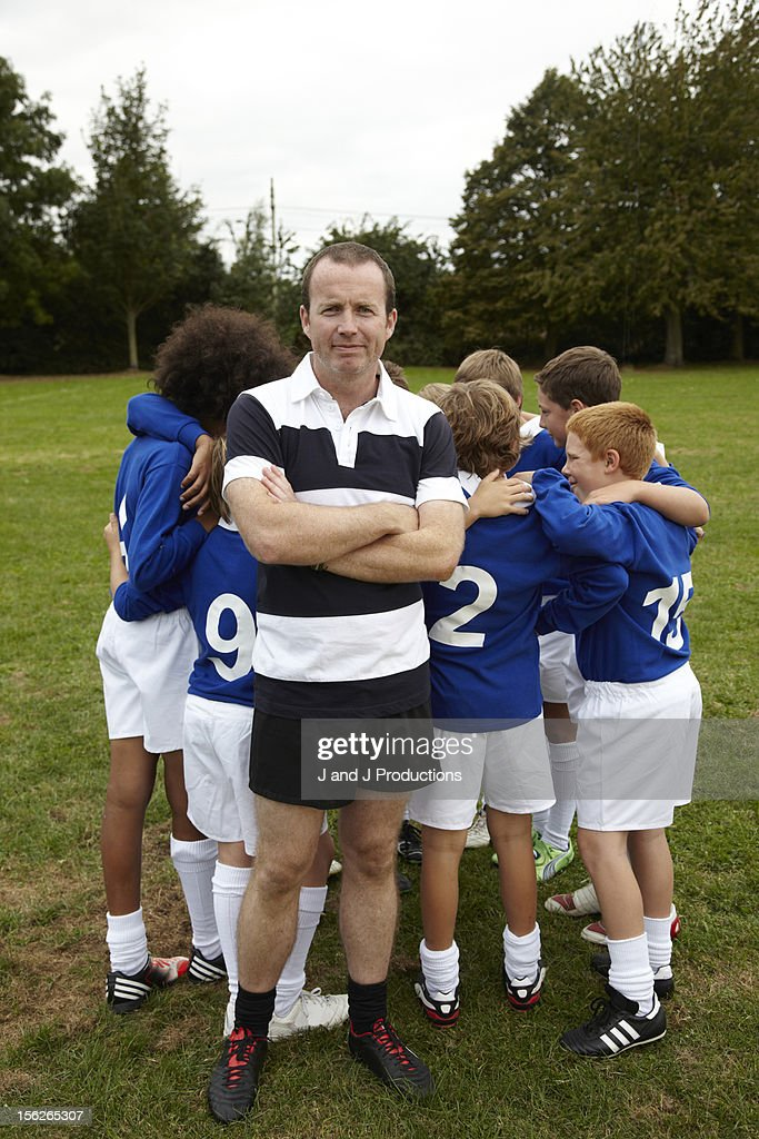 Coach and children : Stock Photo