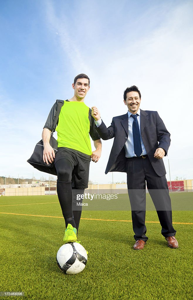 Coach and soccer player
