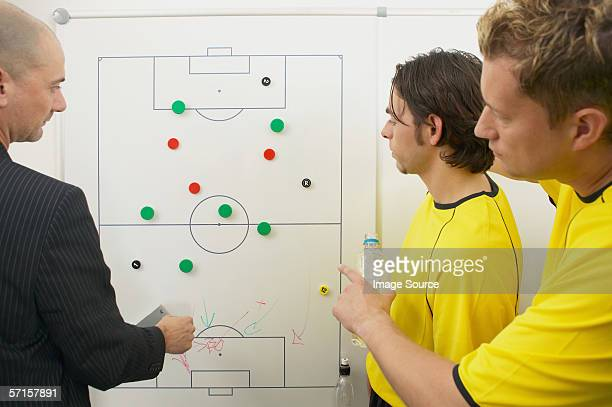 Coach and soccer players discuss strategy
