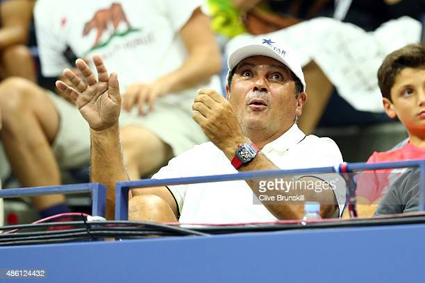 Coach and Uncle Toni Nadal reacts as Rafael Nadal of Spain plays Borna Coric of Croatia during their Men's Singles First Round match on Day One of...