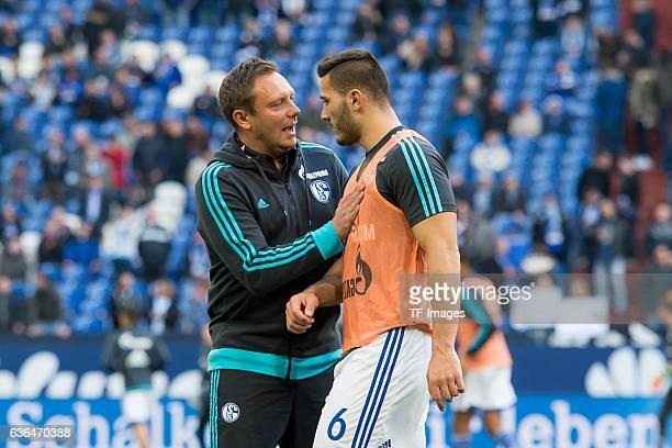 Coach Andre Breitenreiter of Schalke 04 give instructions to Sead KOLASINAC of Schalke 04 during the Bundesliga match between FC Schalke 04 and VfL...