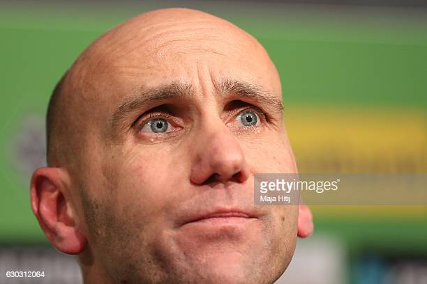 Coach Andre Schubert of Moenchengladbach looks on during the press conference after the Bundesliga match between Borussia Moenchengladbach and VfL...