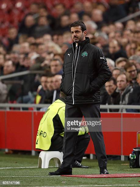 coach Andrea Stramaccioni of Panathinaikos FCduring the UEFA Europa League group G match between Ajax Amsterdam and Panathinaikos FC at the Amsterdam...