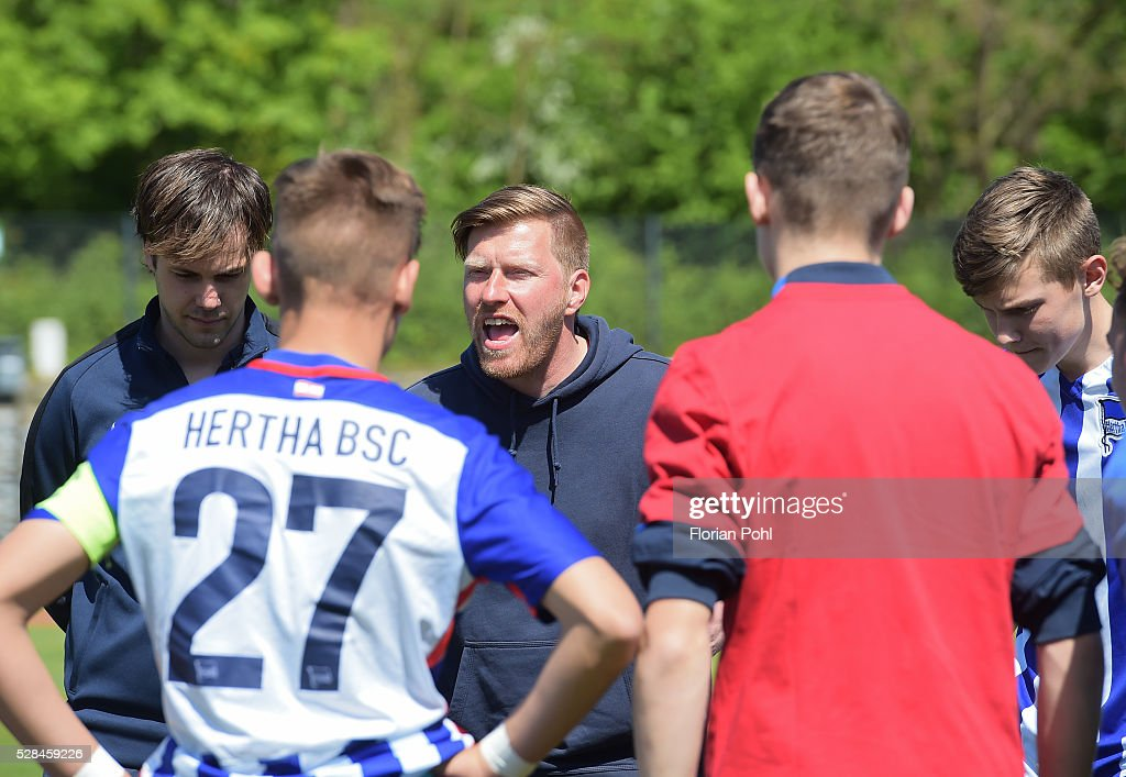 coach Andreas Neuendorf of Hertha BSC During the C-juniors cup match between 1 FC Union Berlin and Hertha BSC on May 5, 2016 in Berlin, Germany.