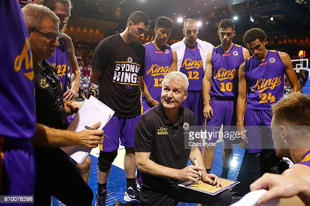Coach Andrew Gazeof the Kings talks to playes during the Australian Basketball Challenge match between Brisbane Bullets and Sydney Kings at the...