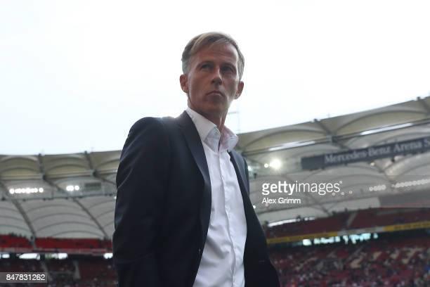 Coach Andries Jonker of Wolfsburg ahead the Bundesliga match between VfB Stuttgart and VfL Wolfsburg at MercedesBenz Arena on September 16 2017 in...