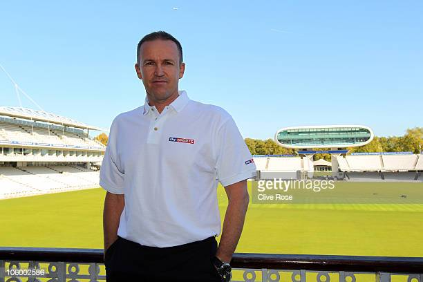 Coach Andy Flower of England poses on the pavillion balcony after a press conference at the ECB/Sky Sports coaches event at Lords on October 25 2010...