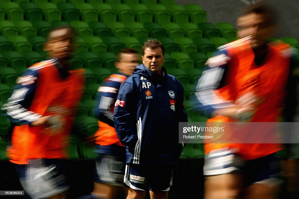 Coach Ange Postecoglou looks on during a Melbourne Victory A-League training session at AAMI Park on February 28, 2013 in Melbourne, Australia.