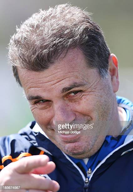 Coach Ange Postecoglou reacts during a Melbourne Victory ALeague training session at Gosch's Paddock on October 24 2013 coach in Melbourne Australia