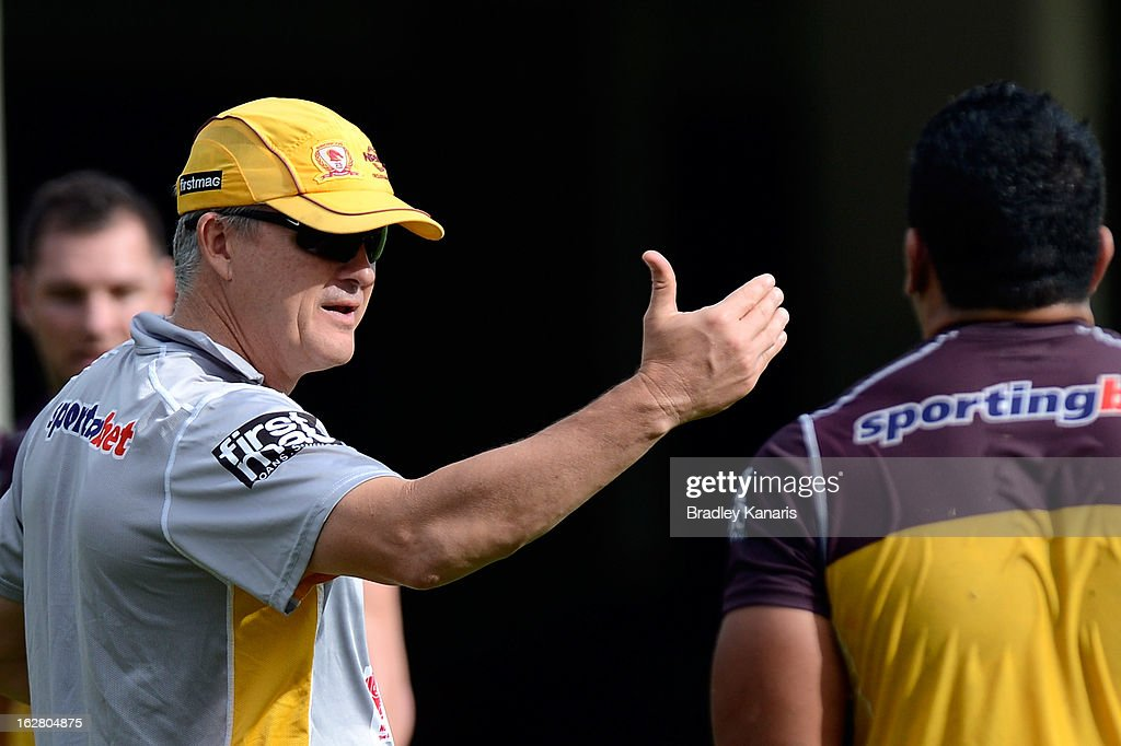 Coach Anthony Griffin gives directions to one of his players during a Brisbane Broncos NRL training session on February 28, 2013 in Brisbane, Australia.