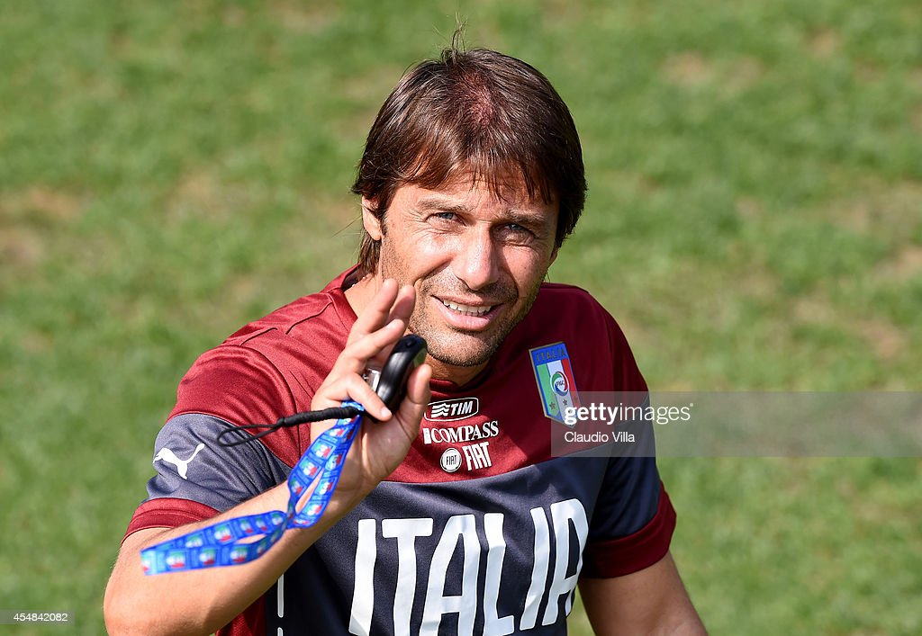 Coach <a gi-track='captionPersonalityLinkClicked' href=/galleries/search?phrase=Antonio+Conte&family=editorial&specificpeople=2379002 ng-click='$event.stopPropagation()'>Antonio Conte</a> during Italy Training Session at Coverciano on September 7, 2014 in Florence, Italy.