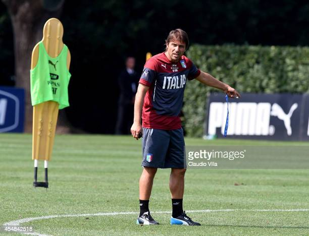 Coach Antonio Conte during Italy Training Session at Coverciano on September 7 2014 in Florence Italy