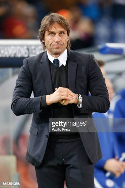 Coach Antonio Conte of Chelsea during UEFA Champions League Group C soccer match between AS Roma and Chelsea FC at the Olympic stadium in Rome AS...