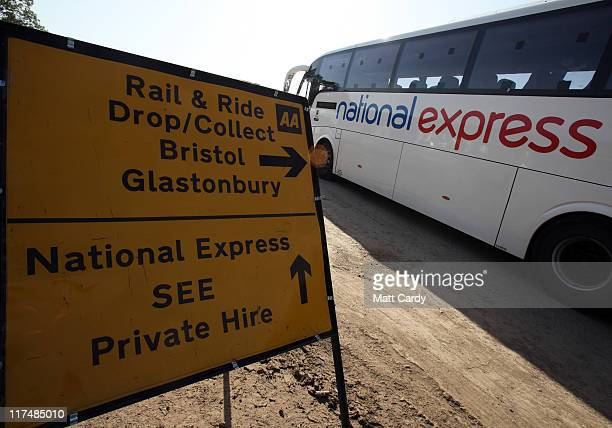 A coach arrives at the site bus station as festival goers begin to leave the Glastonbury Festival site on June 27 2011 at Worthy Farm Pilton As the...