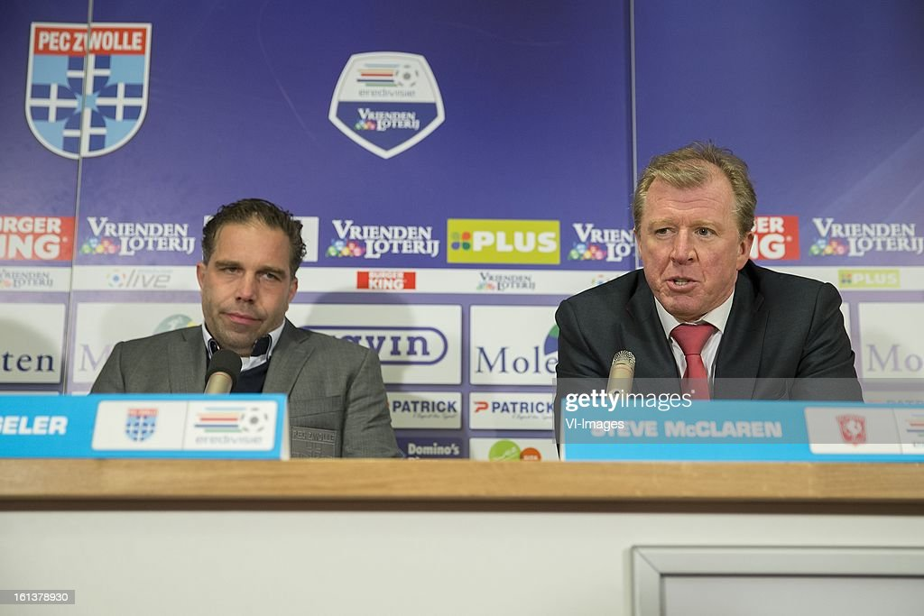 coach Art Langeler of PEC Zwolle, Coach Steve McClaren of FC Twente during the Dutch Eredivisie match between PEC Zwolle and FC Twente at the IJsseldelta Stadium on february 10, 2013 in Zwolle, The Netherlands