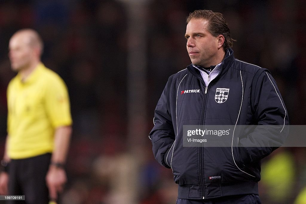 coach Art Langeler of PEC Zwolle during the Dutch Eredivise match between PSV and PEC Zwolle at the Philips Stadium on January 18, 2013 in Eindhoven, The Netherlands.