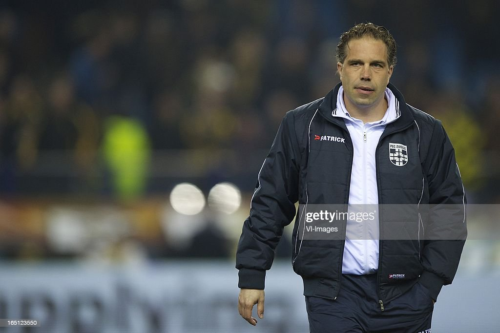 coach Art Langeler of PEC Zwolle during the Dutch Eredivisie match between Vitesse Arnhem and PEC Zwolle at the Gelredome on march 31, 2013 in Arnhem, The Netherlands
