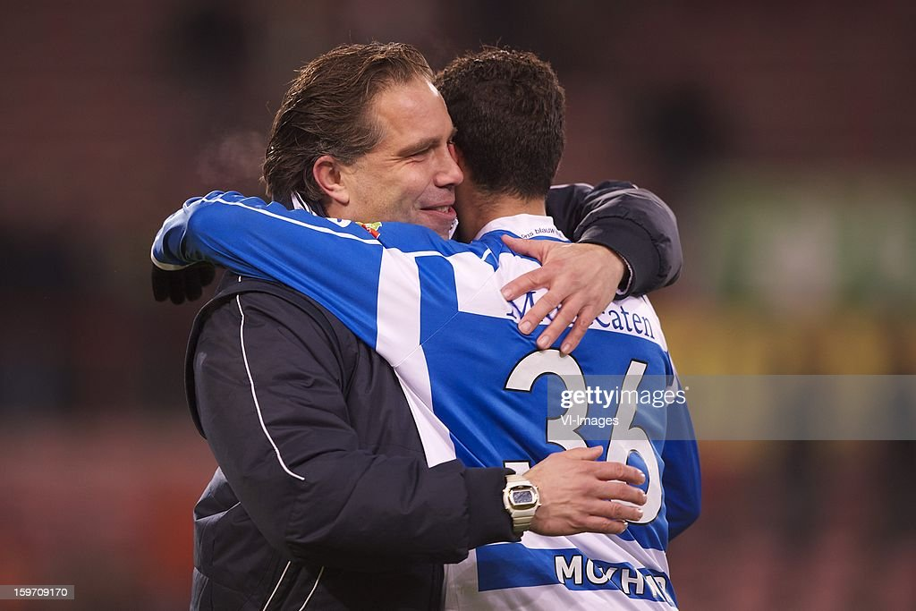 coach Art Langeler of PEC Zwolle, Youness Mokhtar of PEC Zwolle during the Dutch Eredivise match between PSV and PEC Zwolle at the Philips Stadium on January 18, 2013 in Eindhoven, The Netherlands.
