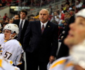 Coach Barry Trotz of the Nashville Predators watches his team play against the Carolina Hurricanes during play at the RBC Center on February 28 2012...