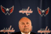 Coach Barry Trotz of the Washington Capitals looks on during his press conference introducing him as the new head coach of the Washington Capitals at...