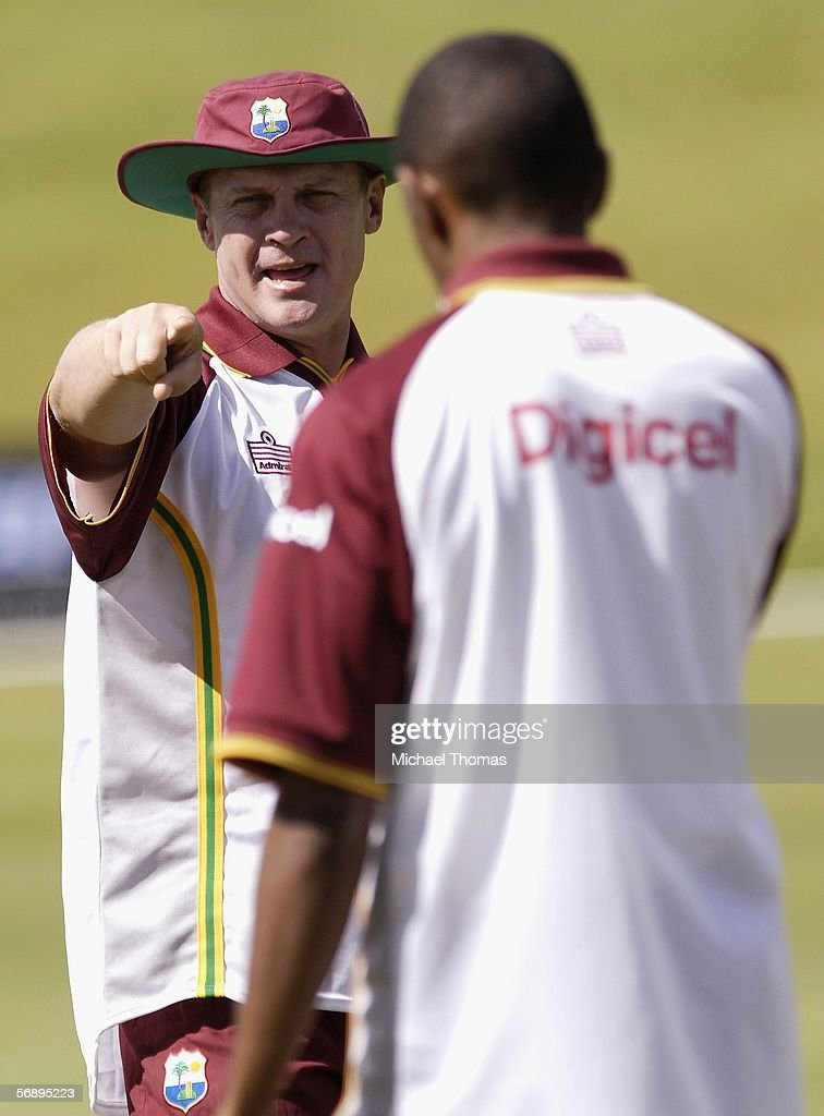 Coach Bennett King of the West Indies gives instruction to his platyers during the West Indies training session at the Queenstown Event Centre...