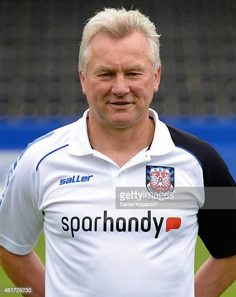 Coach Benno Moehlmann poses during the team presentation of FSV Frankfurt on July 5 2014 in Frankfurt am Main Germany