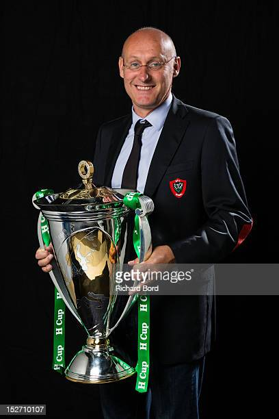 Coach Bernard Laporte of RC Toulon poses with the Heineken Cup during the Heineken Cup Launch at France Television HQ on September 24 2012 in Paris...