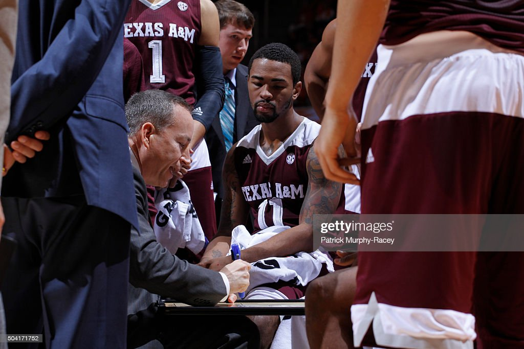 Coach <a gi-track='captionPersonalityLinkClicked' href=/galleries/search?phrase=Billy+Kennedy+-+Basketball+Coach&family=editorial&specificpeople=15285545 ng-click='$event.stopPropagation()'>Billy Kennedy</a> of the Texas A&M Aggies coaches in the huddle in a game at Thompson-Boling Arena on January 9, 2016 in Knoxville, Tennessee.