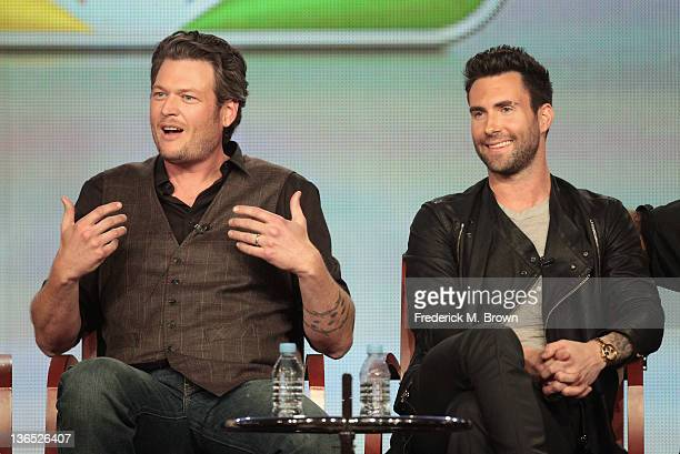 Coach Blake Shelton and Coach Adam Levine speak onstage during the 'The Voice' panel during the NBCUniversal portion of the 2012 Winter TCA Tour at...
