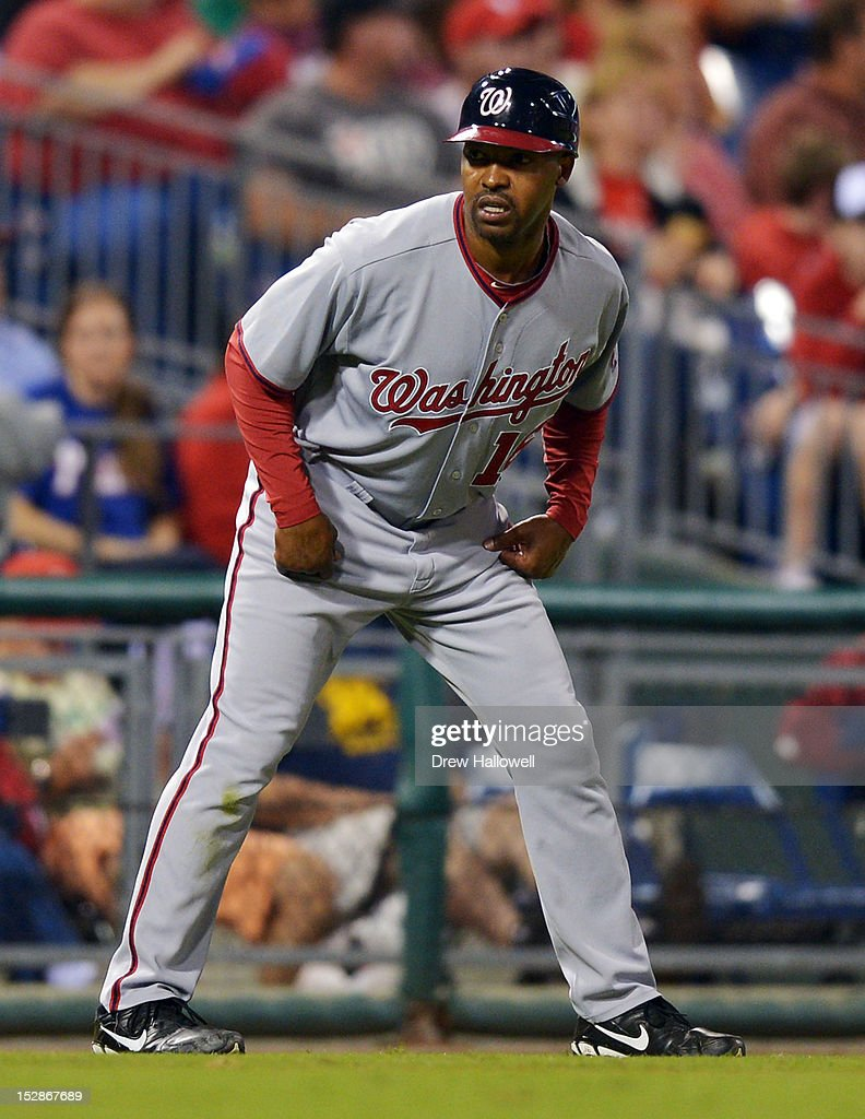 Coach Bo Porter #16 of the Washington Nationals stands at third base during the game against the Philadelphia Phillies at Citizens Bank Park on September 27, 2012 in Philadelphia, Pennsylvania. The Nationals won 7-3.