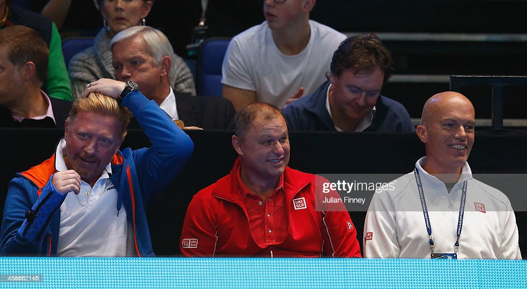 Coach <a gi-track='captionPersonalityLinkClicked' href=/galleries/search?phrase=Boris+Becker&family=editorial&specificpeople=67204 ng-click='$event.stopPropagation()'>Boris Becker</a>, coach Marian Vajda and physiotherapist Milan Amanovic watch Novak Djokovic of Serbia compete in the round robin singles match against Stan Wawrinka of Switzerland on day four of the Barclays ATP World Tour Finals at the O2 Arena on November 12, 2014 in London, England.