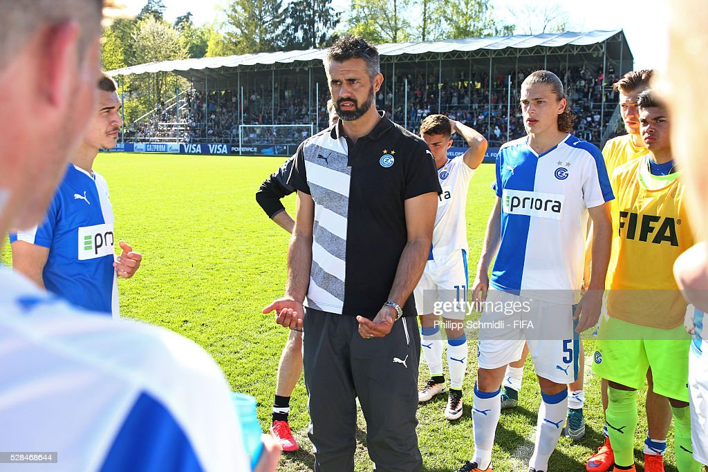 Coach Boris Smiljanic of Grasshopper Club Zurich speaks to his team during the halftime break of the FIFA Blue Stars 2016/FIFA Youth Cup final match between Grasshopper Club Zurich and West Ham United FC on May 5, 2016 in Zurich, Switzerland.