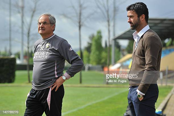 Coach Bortolo Mutti and Sport Manager Christian Panucci look on during a Palermo training session at Coverciano on April 12 2012 in Florence Italy