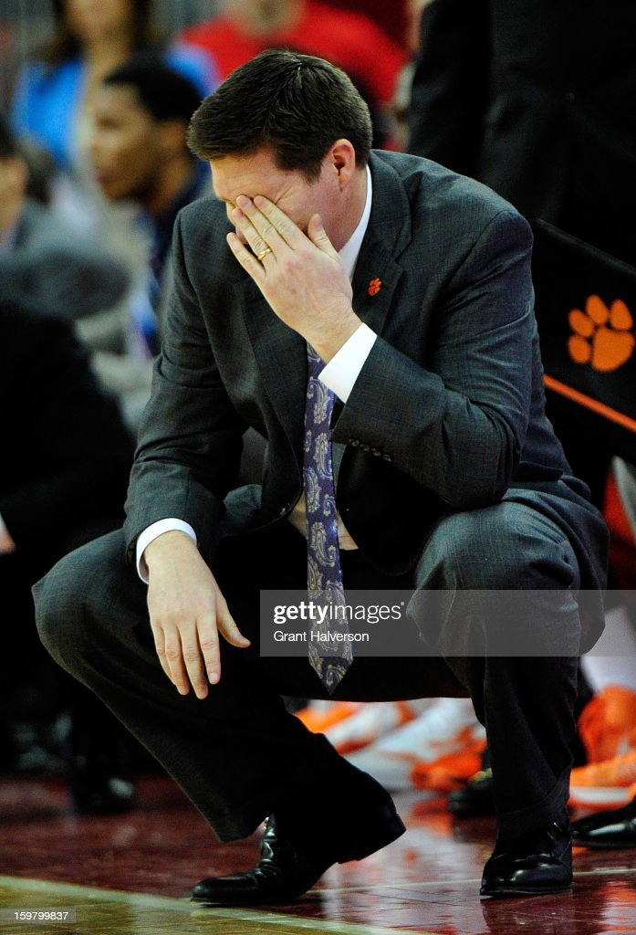 Coach <a gi-track='captionPersonalityLinkClicked' href=/galleries/search?phrase=Brad+Brownell&family=editorial&specificpeople=805140 ng-click='$event.stopPropagation()'>Brad Brownell</a> of the Clemson Tigers reacts during a loss to the North Carolina State Wolfpack PNC Arena on January 20, 2013 in Raleigh, North Carolina. North Carolina State won 66-62.