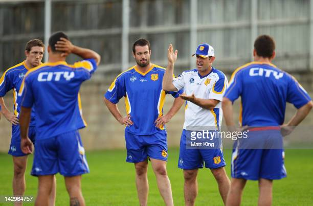 Coach Brad Fittler talks to players during the NSWRL City Origin team training session at Coogee Oval on April 16 2012 in Sydney Australia