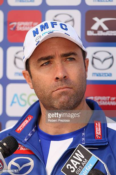 Coach Brad Scott speaks to the media during a North Melbourne Kangaroos training session at Arden Street Ground on April 16 2014 in Melbourne...