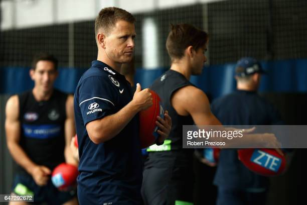 Coach Brendon Bolton looks on during a Carlton Blues AFL media opportunity at Ikon Park on March 3 2017 in Melbourne Australia