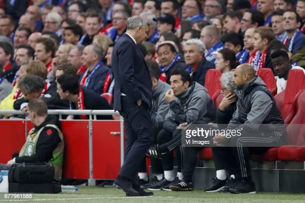 coach Bruno Genesio of Olympique Lyonnaisduring the UEFA Europa League semi final match between Ajax Amsterdam and Olympique Lyonnais at the...